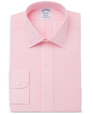 BROOKS BROTHERS Men'S Slim-Fit Non-Iron Stretch Gingham Dress Shirt in Pink