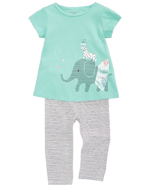 First Impressions Elephant-Print Tunic & Leggings Separates, Baby Girls, Created for Macy's