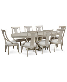 Rachael Ray Cinema Round Dining Furniture, 9-Pc. Set (Expandable Dining Table & 8 Sling Back Chairs)