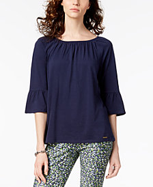 MICHAEL Michael Kors Bell-Sleeve Peasant Top  in Regular & Petite Sizes