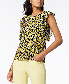 MICHAEL Michael Kors Ruffled Top, Regular & Petite, Created for Macy's