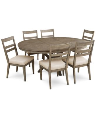 Bridgegate Round Expandable Dining Furniture, 7-Pc. Set (Dining Table & 6 Slat Back Side Chairs)