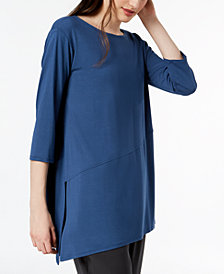 Eileen Fisher Stretch Jersey Asymmetrical-Hem Tunic, Regular & Petite