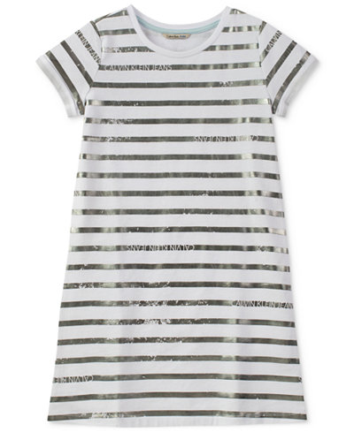Calvin Klein Striped T-Shirt Cotton Dress, Big Girls