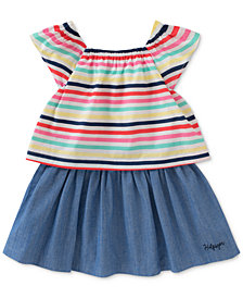 Tommy Hilfiger Popover Striped Chambray Cotton Dress, Little Girls