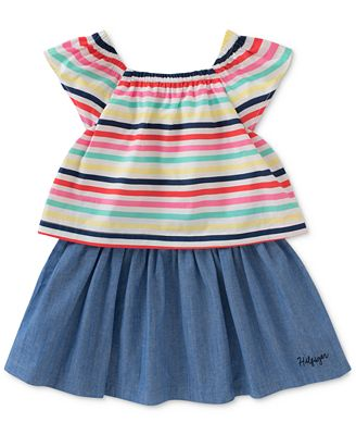 Tommy Hilfiger Popover Striped Chambray Cotton Dress Little Girls
