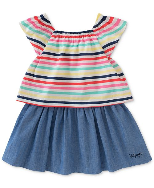 514ceea0e Tommy Hilfiger Popover Striped Chambray Cotton Dress, Toddler Girls ...