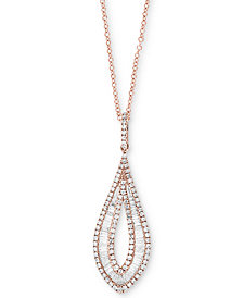 "Classique by EFFY® Diamond Drop 18"" Pendant Necklace (9/10 ct. t.w.) in 14k Rose Gold"