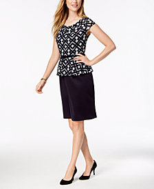 Connected Petite Belted Peplum-Waist Dress