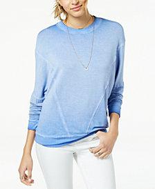 Hippie Rose Juniors' Weathered-Wash Pullover Sweatshirt