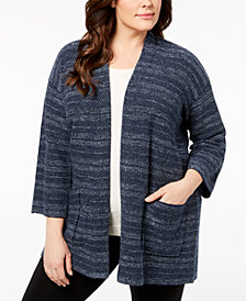 Eileen Fisher Plus Size Tencel® Open-Front Cardigan