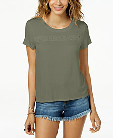 Hippie Rose Juniors' Grommet Lace-Up T-Shirt