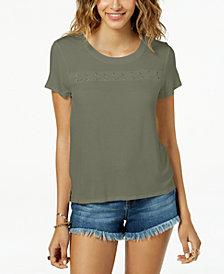 Hippie Rose Juniors' Grommet Lace-Up T-Shirt