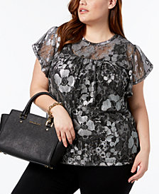 MICHAEL Michael Kors Plus Size Metallic-Print Top