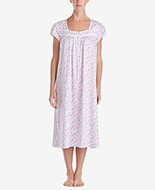 Eileen West Ballet Floral-Print Cotton Knit Nightgown