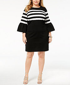 MICHAEL Michael Kors Plus Size Striped Flare-Sleeve Dress