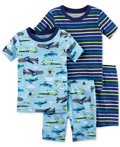 Carter's 4-Pc. Plane-Print Cotton Pajama Set, Baby Boys