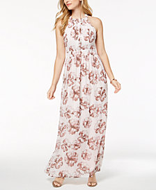 Nine West Floral Printed Halter Maxi Dress