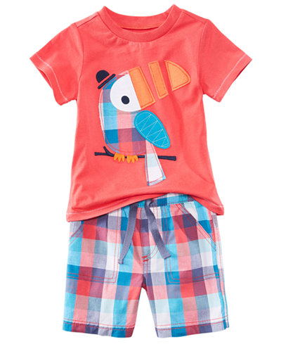 First Impressions Graphic-Print T-Shirt & Plaid Shorts Separates, Baby Boys, Created for Macy's