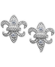 Giani Bernini Cubic Zirconia Fleur-de-lis Stud Earring in Sterling Silver, Created for Macy's