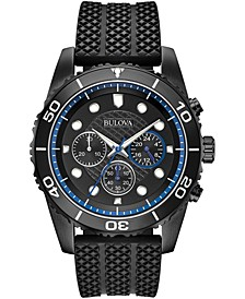 Men's Chronograph Sport Black Silicone Strap Watch 43mm, Created for Macy's
