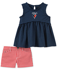 Tommy Hilfiger 2-Pc. Lace-Trim Top & Striped Shorts Set, Little Girls