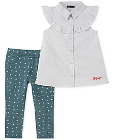Tommy Hilfiger 2-Pc. Ruffle-Trim Shirt & Printed Denim Leggings Set, Toddler Girls