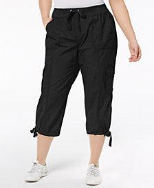 Calvin Klein Performance Tie-Waist Cropped Cargo Pants