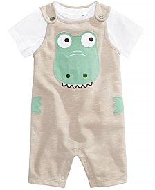 First Impressions 2-Pc. T-Shirt & Alligator Overall Set, Baby Boys, Created for Macy's