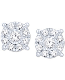 Diamond Halo Cluster Stud Earrings (1/5 ct. t.w.) in 10k White Gold