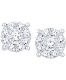 Diamond Halo Cluster Stud Earrings (1/5 ct. t.w.) in 10k White Gold