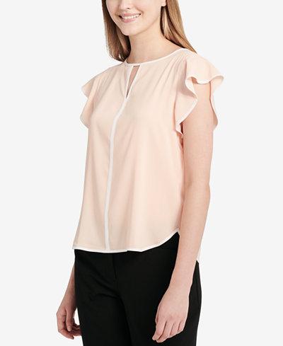 Calvin Klein Flutter-Sleeve Keyhole Blouse