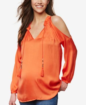 COLLECTIVE CONCEPTS Maternity Cold-Shoulder Blouse in Orange