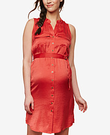 Motherhood Maternity Drawstring-Waist Shirtdress