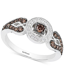 Le Vian Chocolatier® Deco Estate Collection™ Diamond Halo Ring (3/8 ct. t.w.) in 14k White Gold