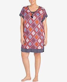 Layla Plus Size Contrast-Print Keyhole Sleepshirt