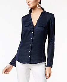I.N.C. Petite Side-Panel Roll-Tab Shirt, Created for Macy's