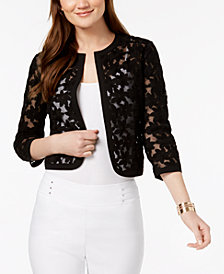 Anne Klein Cropped Embroidered Jacket