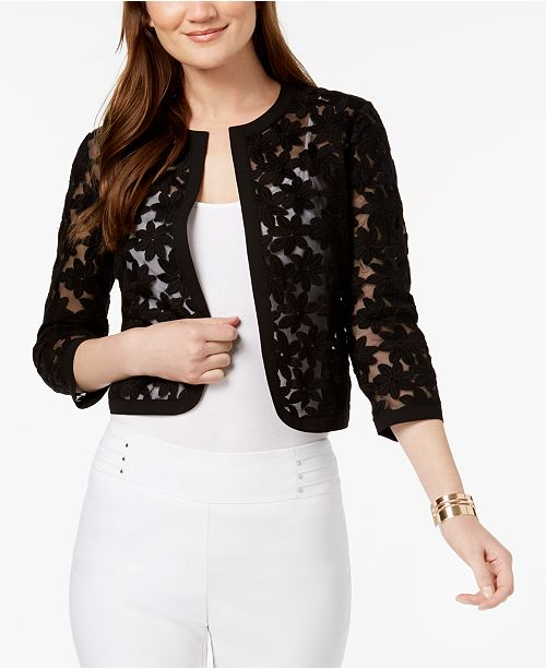 Black Klein Anne Embroidered Cropped Jacket pw4XvqO
