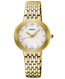 Seiko Women's Crystal Gold-Tone Stainless Steel Bracelet Watch 28.5mm
