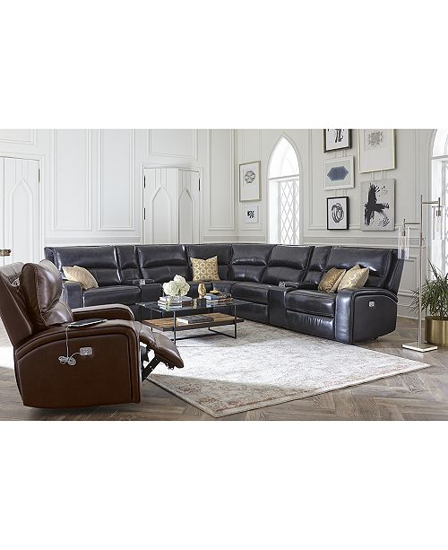Furniture Brant 6 Pc Leather Sectional Sofa With 3 Recliners Headrests Console And Usb Outlet Macy S