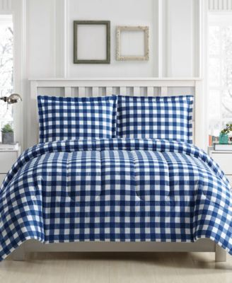Gingham 3-Pc. Reversible Full/Queen  Comforter Set, Created for Macy's