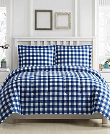 Gingham 3-Pc. Reversible King  Comforter Set, Created for Macy's