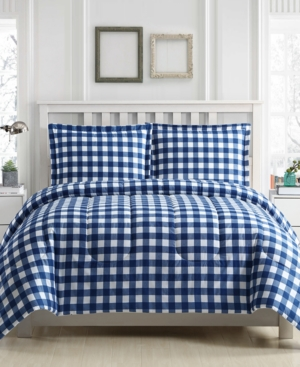 Gingham 3Pc Reversible King Comforter Set Created for Macys Bedding