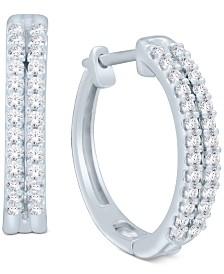 Diamond Two-Row Hoop Earrings (1/2 ct. t.w.) in 14k Gold or White Gold