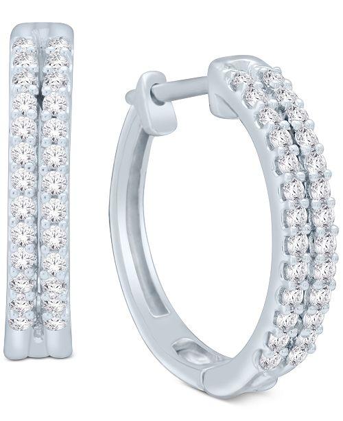 Macy's Diamond Two-Row Hoop Earrings (1/2 ct. t.w.) in 14k Gold or White Gold