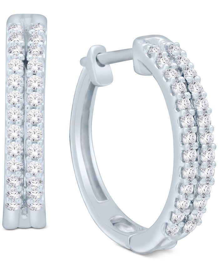 Macy's - Diamond Two-Row Hoop Earrings (1/2 ct. t.w.) in 14k Gold or White Gold