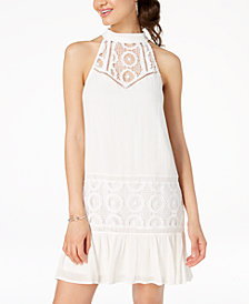 City Studios Juniors' Crochet-Trimmed Shift Dress