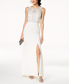 Morgan & Company Juniors' Beaded Illusion-Back Gown