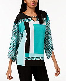 JM Collection Printed Embellished Keyhole Top, Created for Macy's